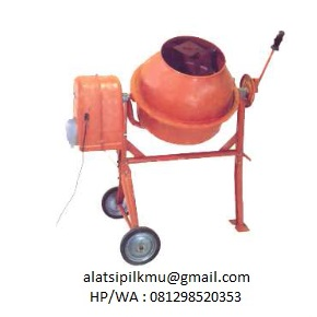 For mixing trial bathes of concrete for mix design approx 70 litre capacity, 4 mixing blades welded steel frame, 2 wheels for easy movement, electromotor 1/2 HP, 220 V-AC, 1 Phase